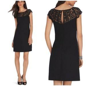 WHBM Cap Sleeve Lace Neckline Shift Dress Sz 2